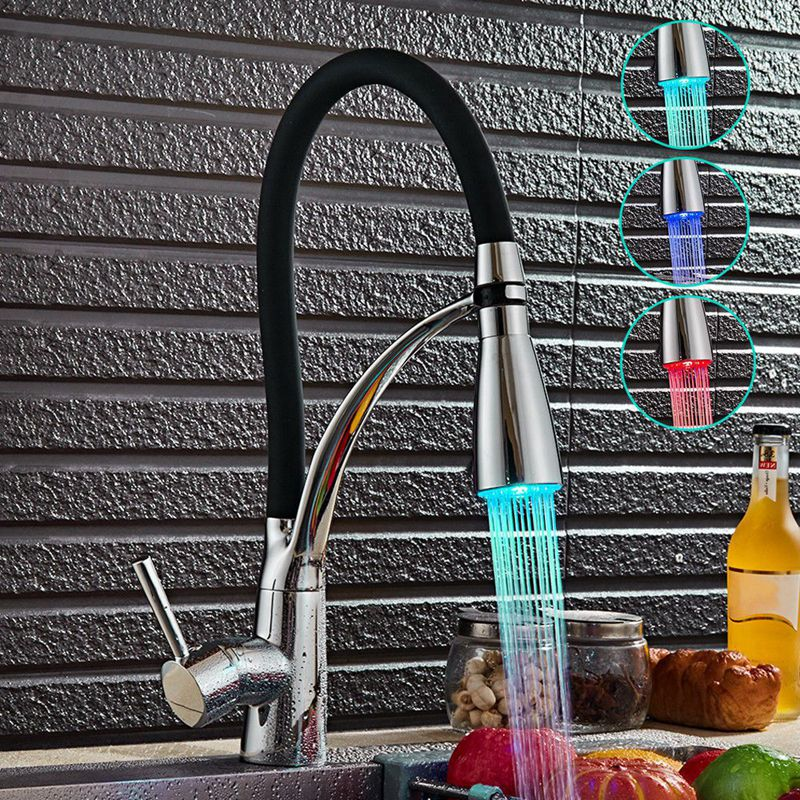 Image Is Loading Led Kitchen Taps Pull Out Spray Basin Mixer