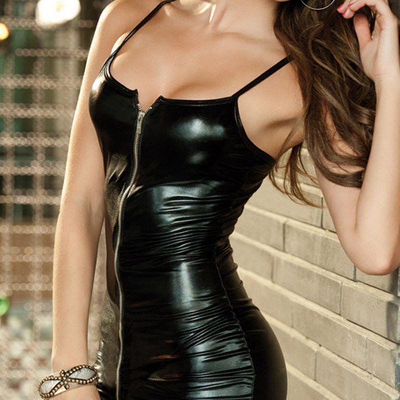 Lenceria-sexy-Vestido-erotico-de-mujer-Ropa-de-club-de-cremallera-femenina-de-ST