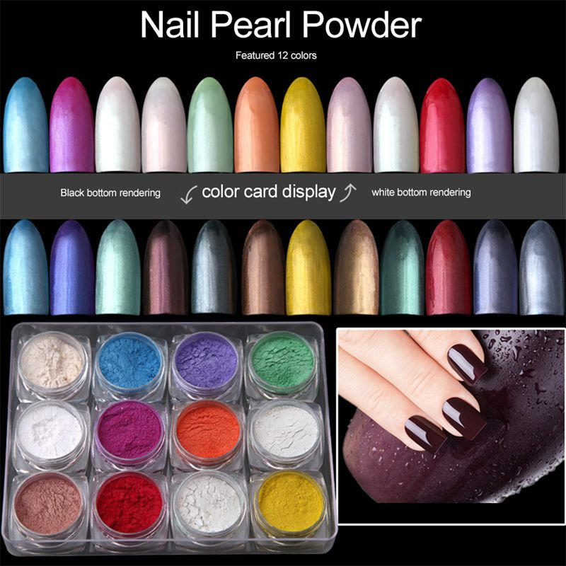 12boxes/set 12 Colors Holographic Nail Powder Nail Manicure For ...
