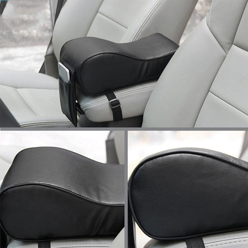 Black Car Armrest Cover Cushion Pad Fit For VW Benz Audi BMW Mazda Ford HONDA