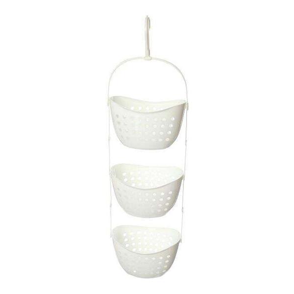 3 tier plastic basket shower caddy hanging rack tidy shelf. Black Bedroom Furniture Sets. Home Design Ideas
