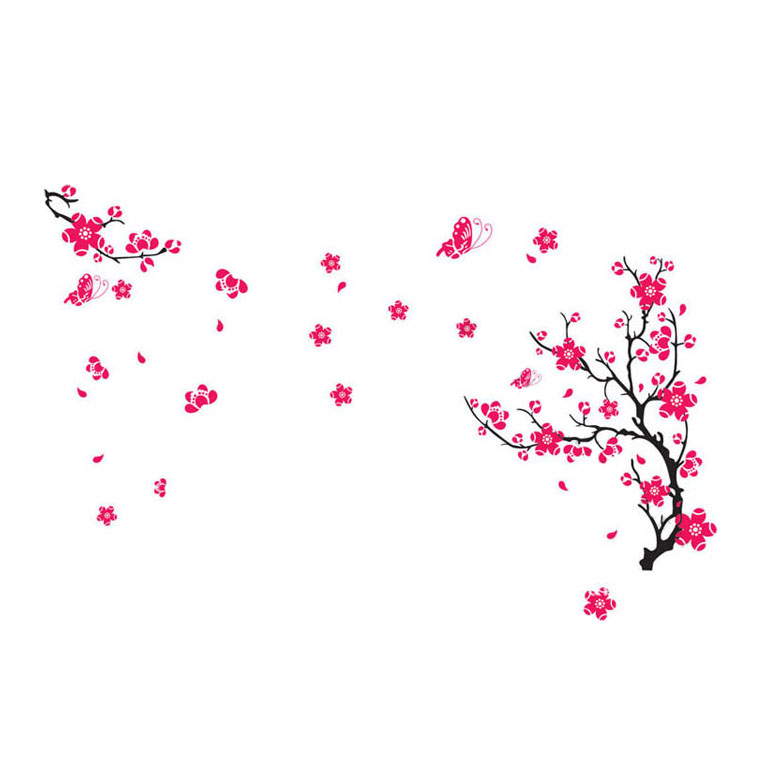 Pink-Spring-Peach-Blossom-Tree-Flowers-Wall-Art-Stickers-Decal-for-Ho-B8G5