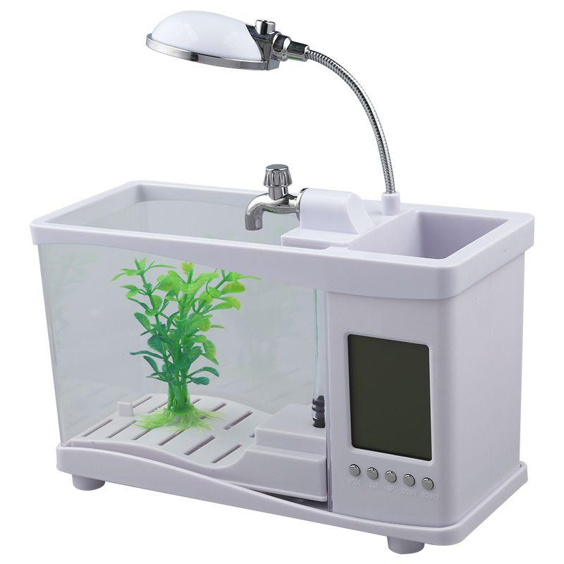 2XUSB Mobile Mini Electronic Desktop Desktop Desktop Fish tank bianca H7M5 7a44b9