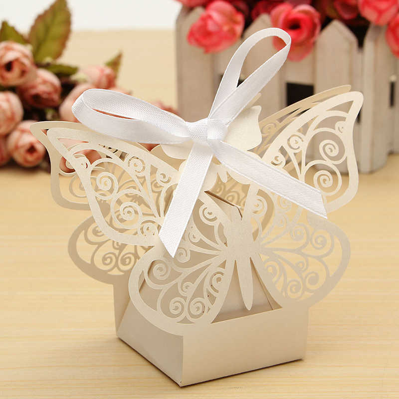 Paper Butterfly Cut Candy Cake Boxes Wedding Party Gifts Favor Case ...