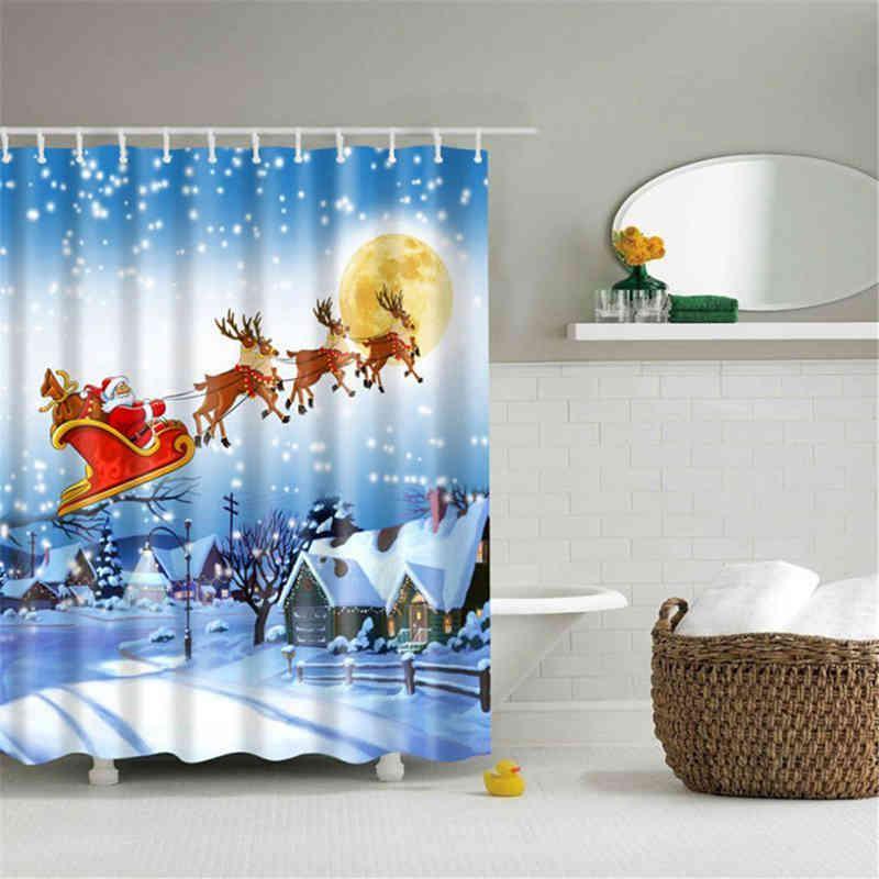 Christmas Shower Curtain Bathroom Sleigh Tub Santa Polyester Waterproof 180 N0S6