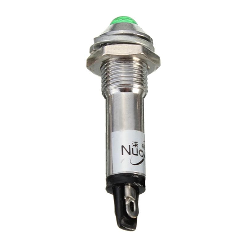 DEL Verte 8 mm Métal Panneau indicateur 12 V