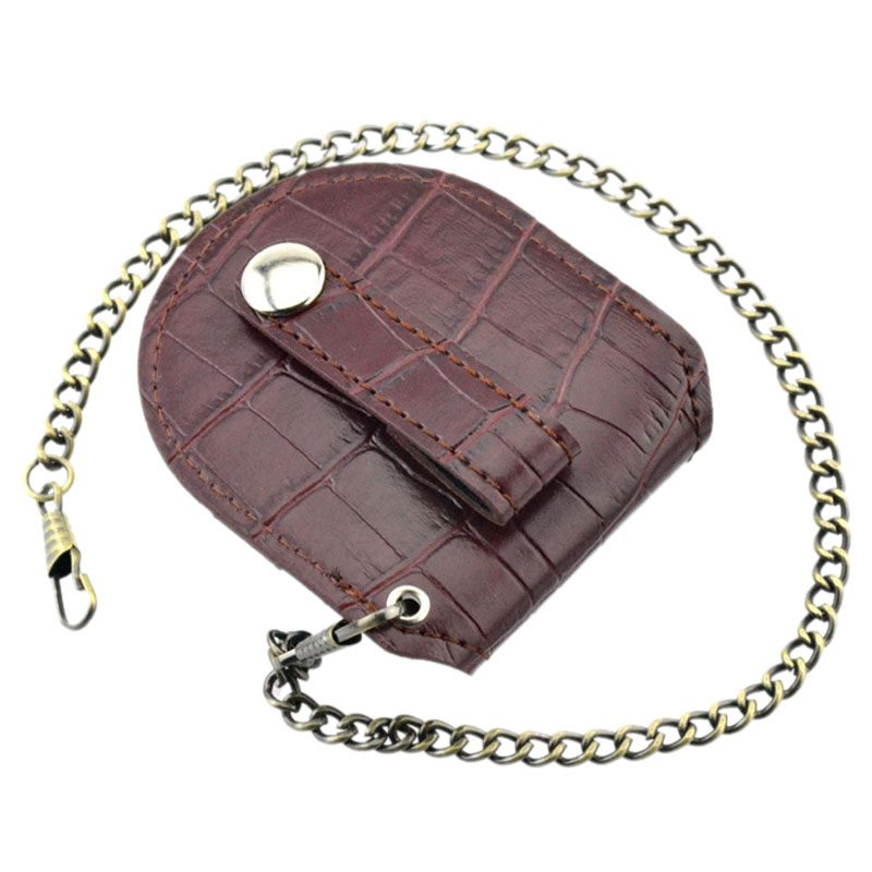 Vintage-Leather-Chain-Pocket-Watch-Holder-Storage-Case-Box-Red-brown-O5T4 thumbnail 2
