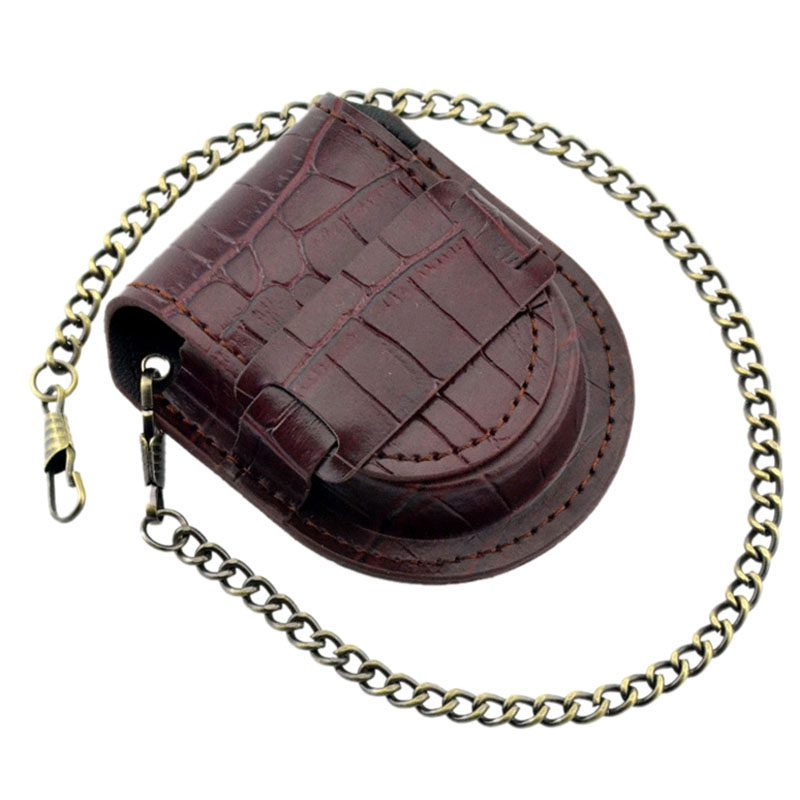 Vintage-Leather-Chain-Pocket-Watch-Holder-Storage-Case-Box-Red-brown-O5T4 thumbnail 3
