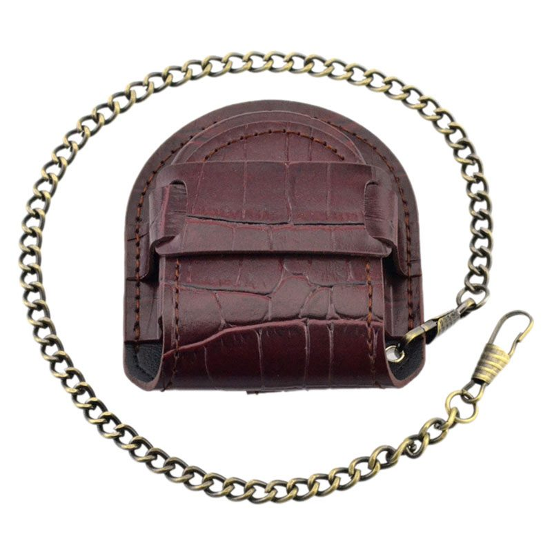 Vintage-Leather-Chain-Pocket-Watch-Holder-Storage-Case-Box-Red-brown-O5T4 thumbnail 4