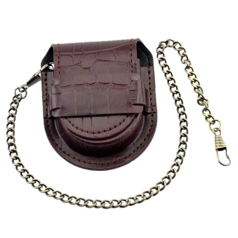 Vintage-Leather-Chain-Pocket-Watch-Holder-Storage-Case-Box-Red-brown-O5T4