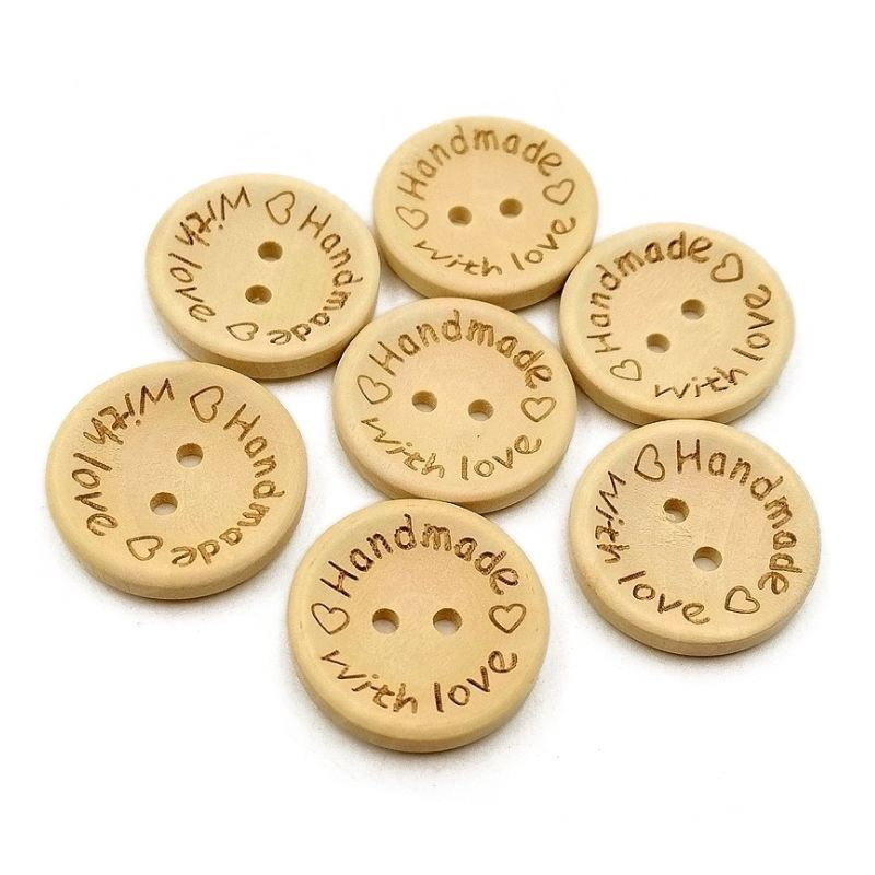 New 100PCs Natural 4 Holes Round Wood Sewing Buttons 11mm