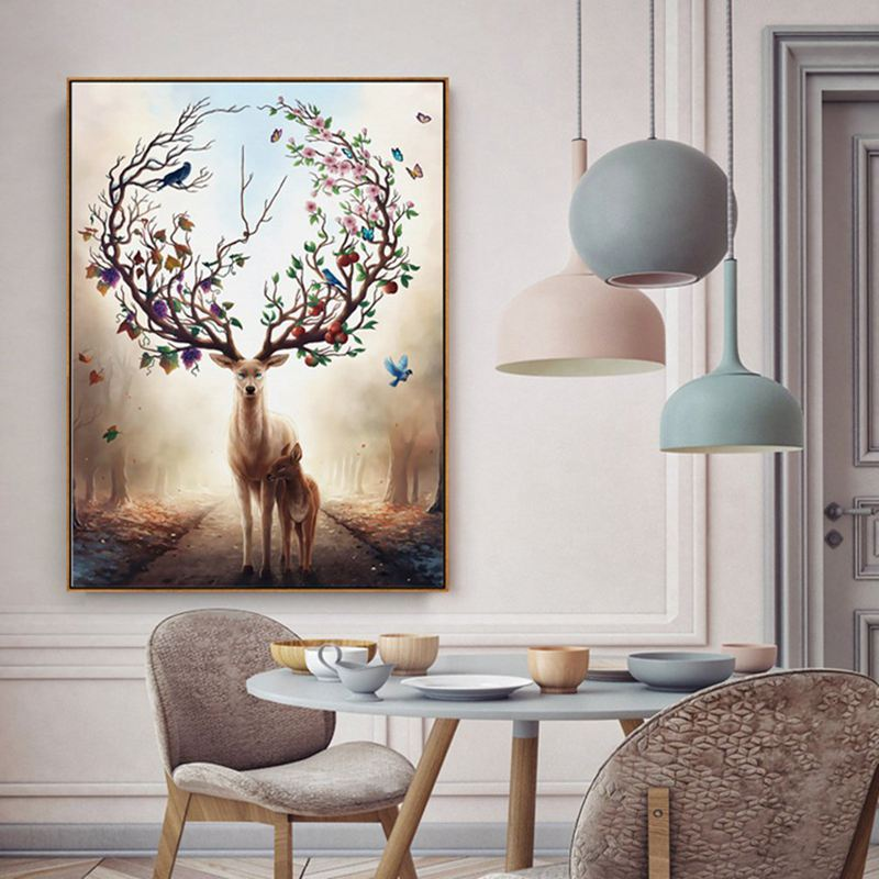 5X-Wall-Art-Deer-Stag-with-Long-Antler-Bloom-and-Bear-Fruit-Pictures-Prints-J8Q4
