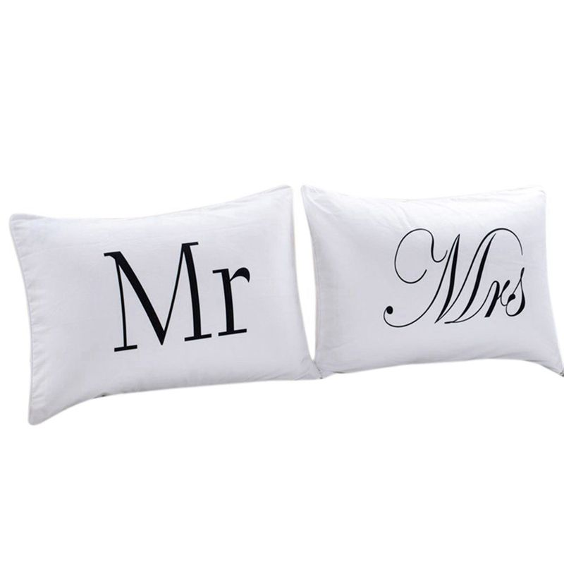 Set Of 2 Mr And Mrs Pillow Cases Anniversary Wedding Gift Couple