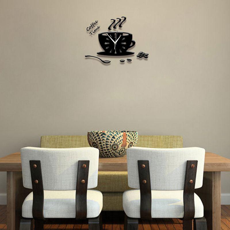 3D Diy Acryl Wanduhr Moderne Kueche Wohnkultur Kaffee Zeit