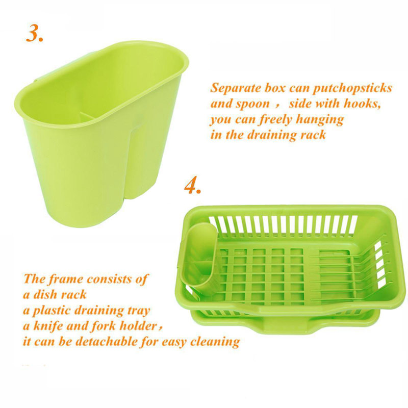 Kitchen-Sink-Dish-Plate-Utensil-Drainer-Drying-Rack-Holder-Basket-Z9V3 thumbnail 3