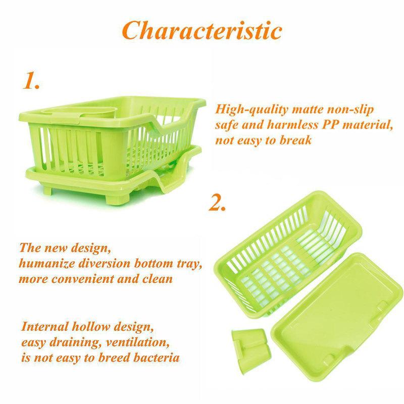 Kitchen-Sink-Dish-Plate-Utensil-Drainer-Drying-Rack-Holder-Basket-Z9V3 thumbnail 4