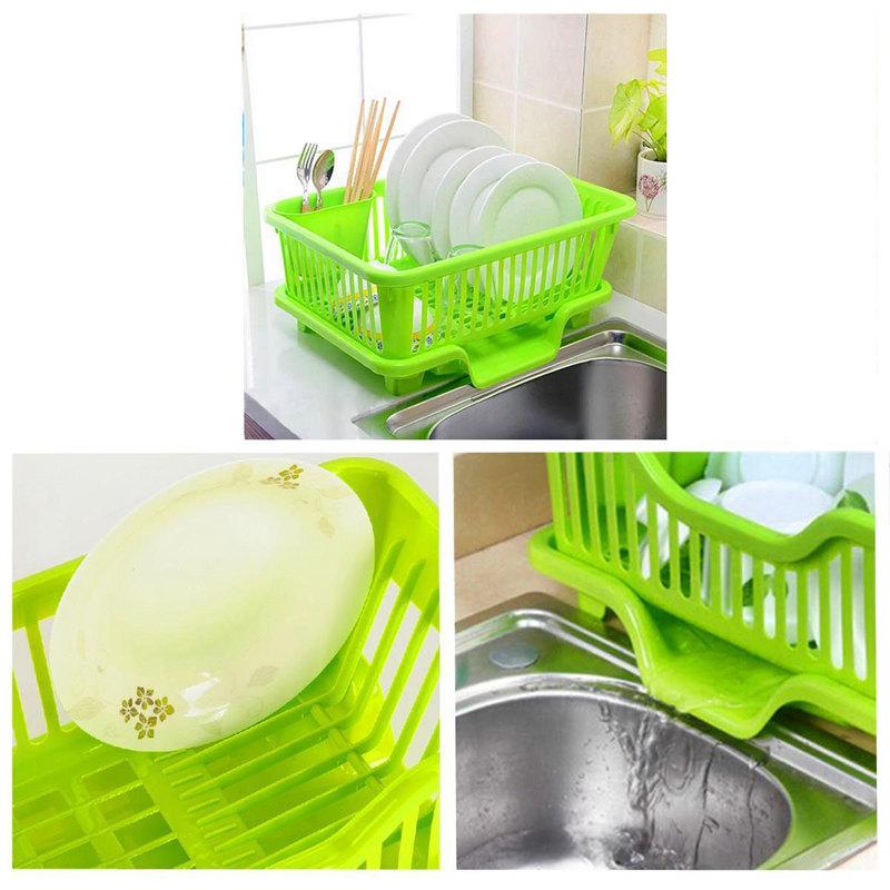 Kitchen-Sink-Dish-Plate-Utensil-Drainer-Drying-Rack-Holder-Basket-Z9V3 thumbnail 5