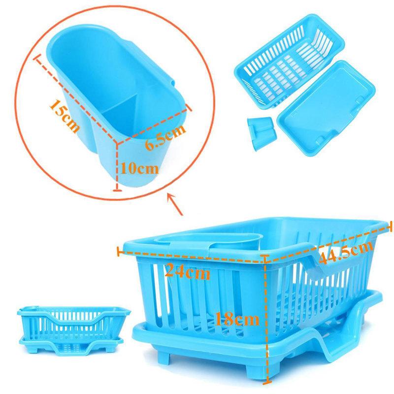 Kitchen-Sink-Dish-Plate-Utensil-Drainer-Drying-Rack-Holder-Basket-Z9V3 thumbnail 7