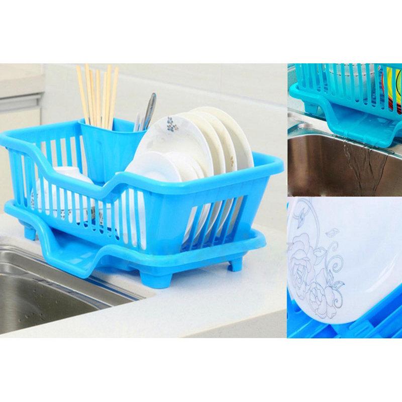 Kitchen-Sink-Dish-Plate-Utensil-Drainer-Drying-Rack-Holder-Basket-Z9V3 thumbnail 8