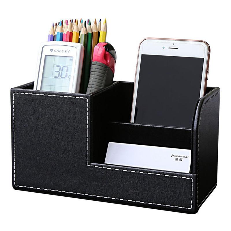 Pu Leather Desk Stationery Box Organizer Office Desktop With 3 D O1m4