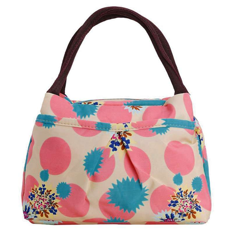 Details About Print Women Handbags Lunch Bag Tote Pink Circles T1h7