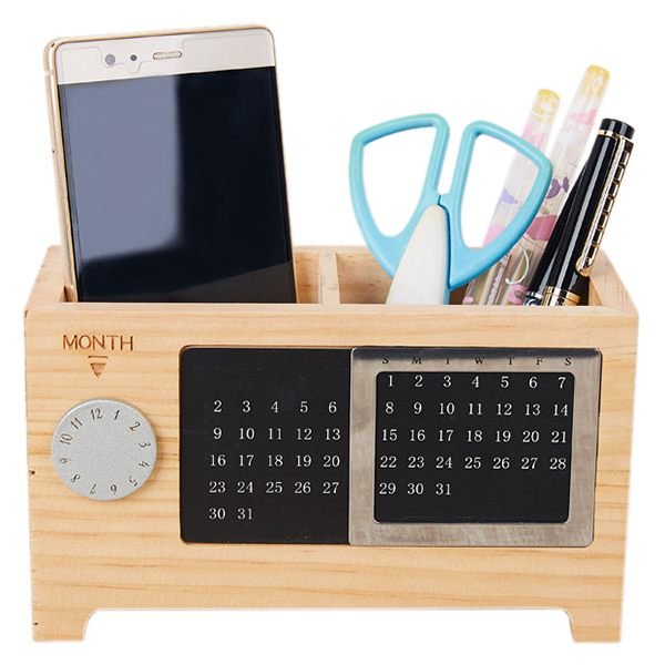 Wooden Office Desk Organizer Pen And Pencil Holder Stationery Storage Box W F6k8