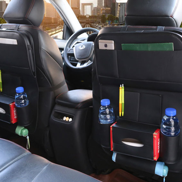 Practical Design The In Car Organiser With 8 Pockets And 1 Foldable Tray Placing Bottles Cell Phones Umbrellas Paper Towels So On