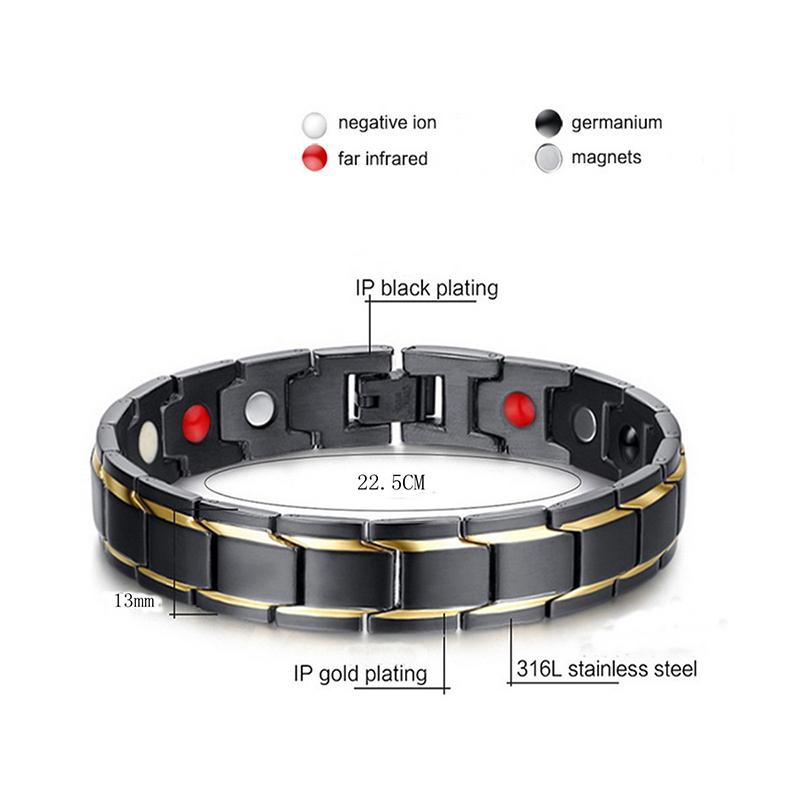 Anti-strahlend-Magnet-Titan-Stahl-Armband-Schwarz-Gold-F3L5-O3B7