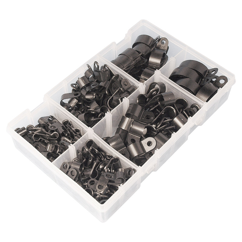 High-Quality-Assorted-Box-of-Black-Nylon-Plastic-P-Clips-200-Pieces-F2Y1
