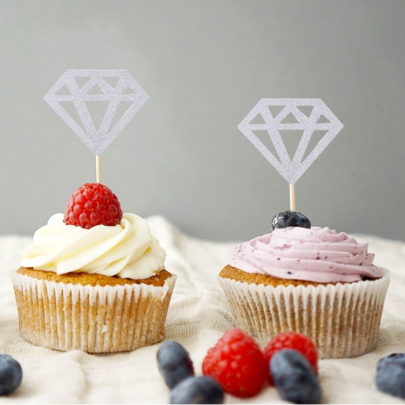glitter paper color us regulations simple and elegant shape suitable for patty use these silver glitter diamond cupcake toppers are made of good qualtity