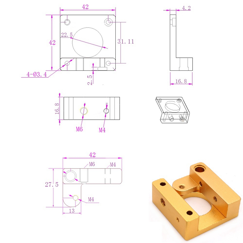 3D-Printer-MK8-1-75mm-Remote-Extruder-Kit-All-metal-Frame-For-Makerbot-Repr-A9I4 thumbnail 7