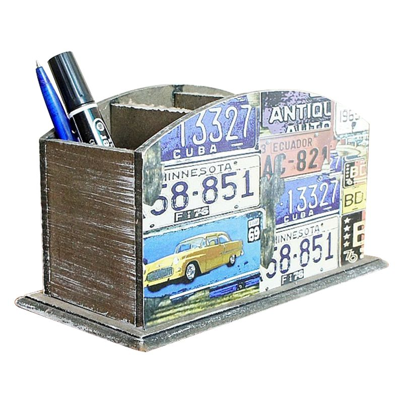 5X(3 grid world pen creative square wooden pen holder I4E2)