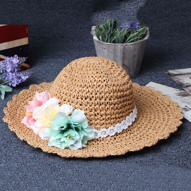 Girl-Kids-Summer-Wide-Brim-Floppy-Beach-Sun-Visor-Hat-with-Flowers-Khaki-G8H9