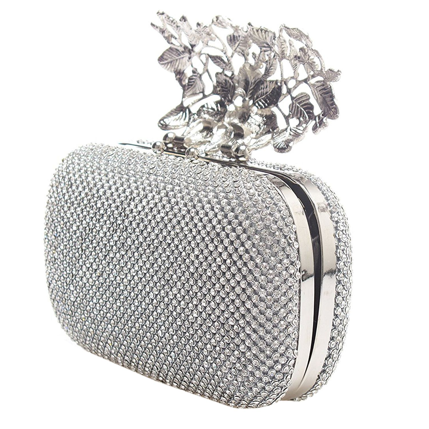 Women Crystal Diamante Top Clasp Evening Bag Purse Party Wedding Prom Clutches