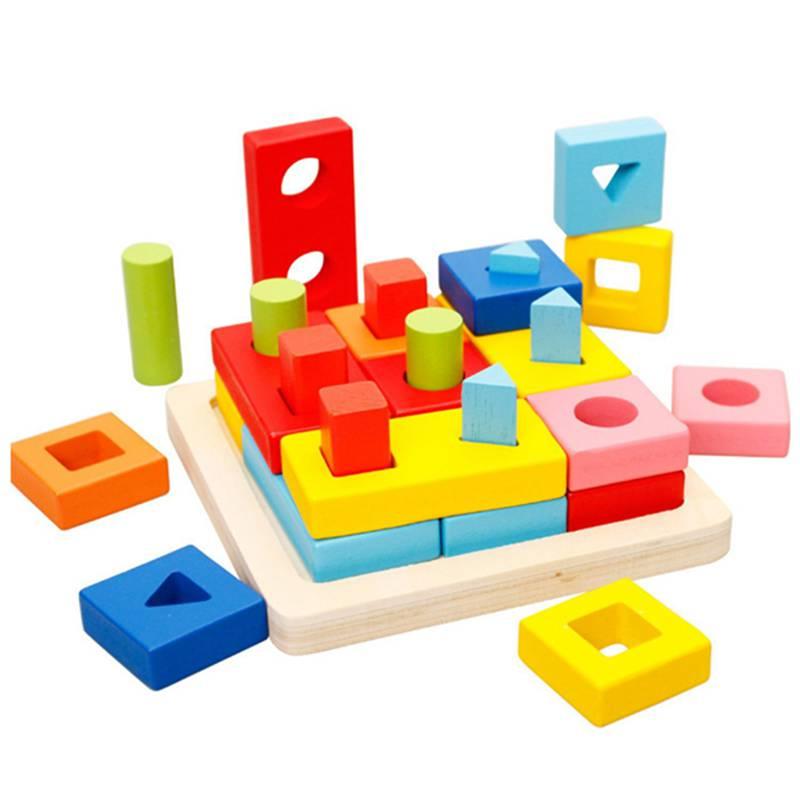 5X(MWZ Bloc de Puzzle geometrique en bois Empilage de jouets classes educati U2)