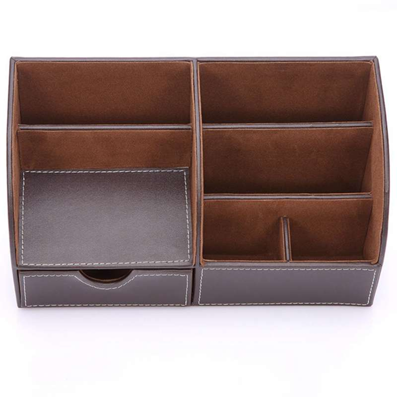 7-Compartiments-De-Stockage-Multifonctionnel-PU-Bureau-En-Cuir-Organisateur-D-SC miniature 3
