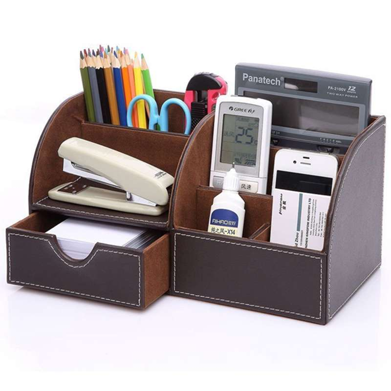 7-Compartiments-De-Stockage-Multifonctionnel-PU-Bureau-En-Cuir-Organisateur-D-SC miniature 4