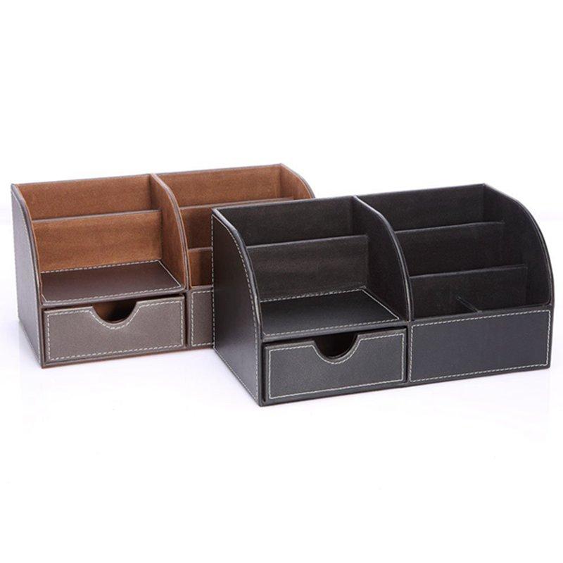 7-Compartiments-De-Stockage-Multifonctionnel-PU-Bureau-En-Cuir-Organisateur-D-SC miniature 6