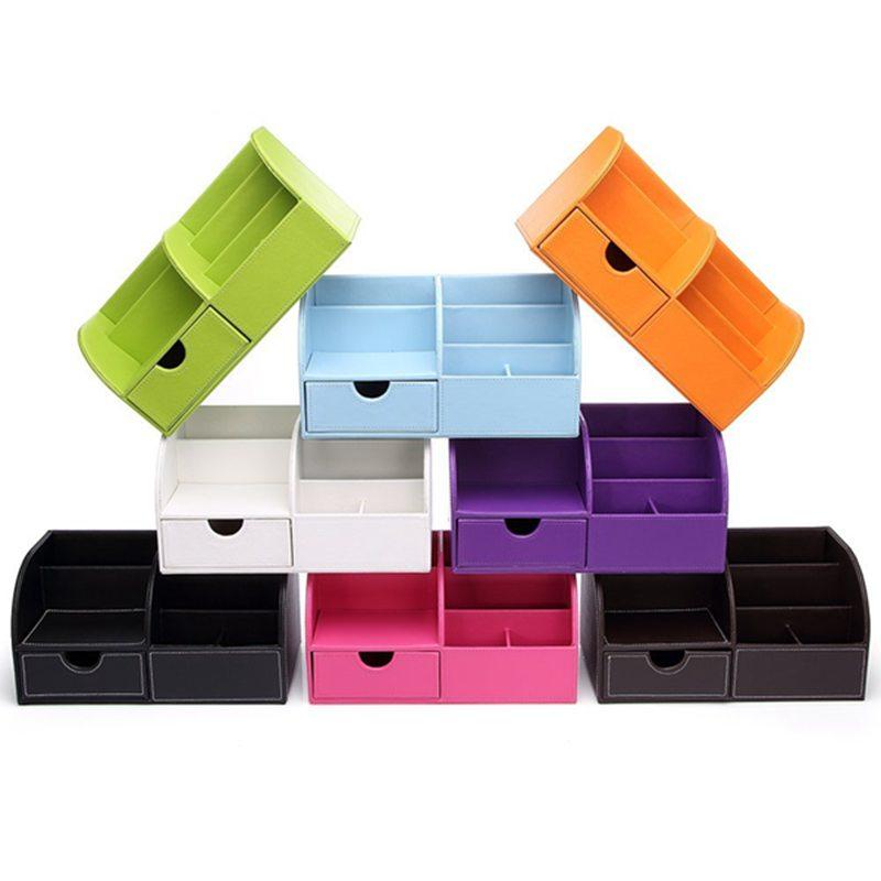 7-Compartiments-De-Stockage-Multifonctionnel-PU-Bureau-En-Cuir-Organisateur-D-SC miniature 7