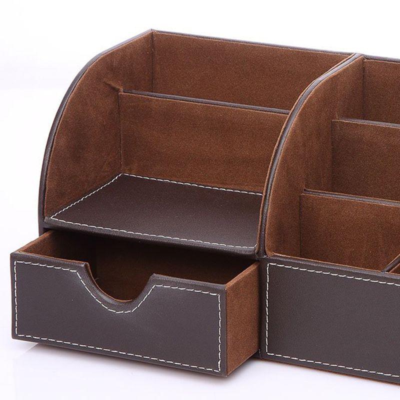 7-Compartiments-De-Stockage-Multifonctionnel-PU-Bureau-En-Cuir-Organisateur-D-SC miniature 8