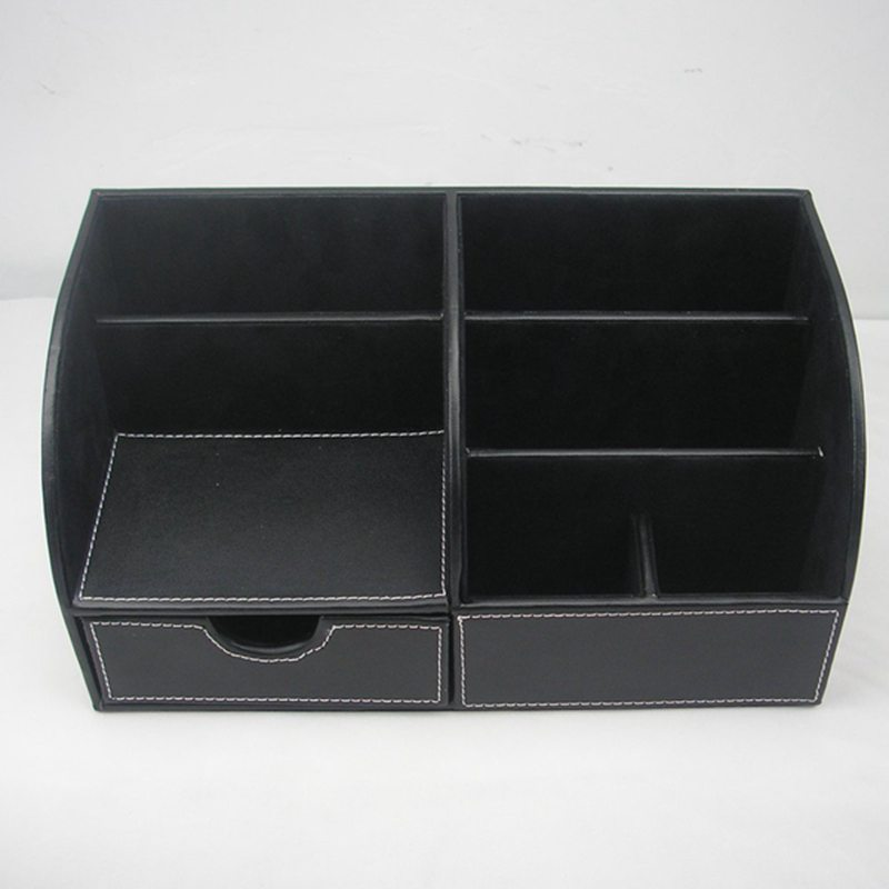 7-Compartiments-De-Stockage-Multifonctionnel-PU-Bureau-En-Cuir-Organisateur-D-SC miniature 14