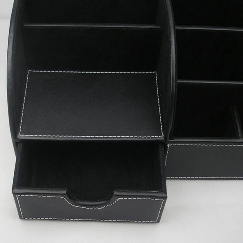 7-Compartiments-De-Stockage-Multifonctionnel-PU-Bureau-En-Cuir-Organisateur-D-SC miniature 15