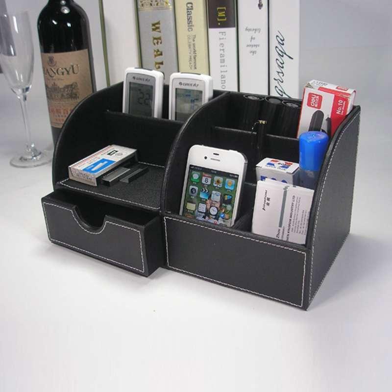 7-Compartiments-De-Stockage-Multifonctionnel-PU-Bureau-En-Cuir-Organisateur-D-SC miniature 16