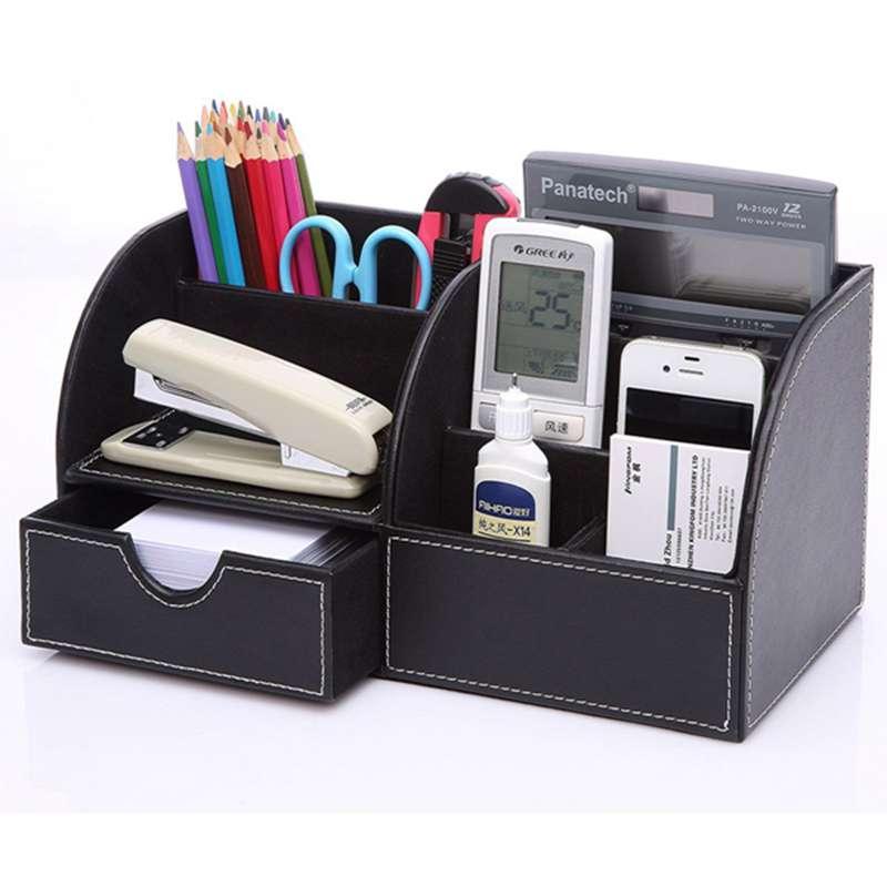 7-Compartiments-De-Stockage-Multifonctionnel-PU-Bureau-En-Cuir-Organisateur-D-SC miniature 17