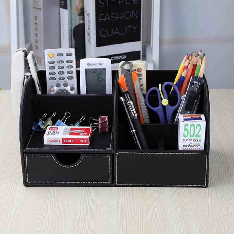 7-Compartiments-De-Stockage-Multifonctionnel-PU-Bureau-En-Cuir-Organisateur-D-SC miniature 18