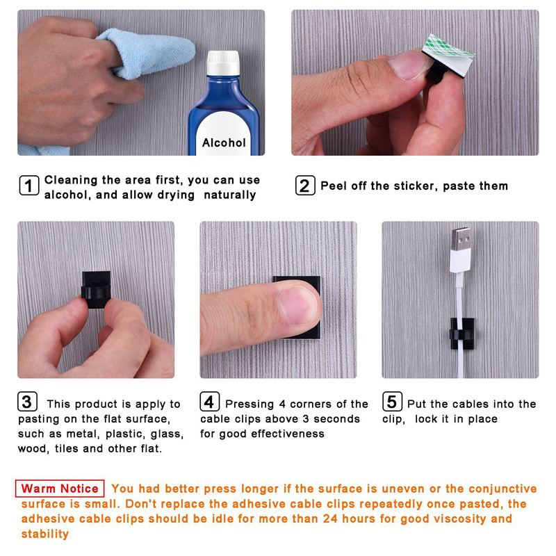 100 Pieces Adhesive Cable Clips Wire Cable Holder Clamps Cable Tie ...