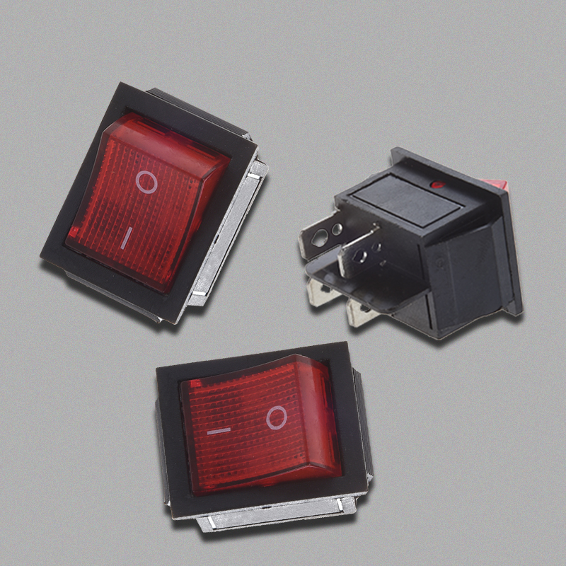Rot Beleuchtet 4 Pin DPST ON / OFF-Snap in Wippschalter 16A 20A 250V AC C8M5 WV