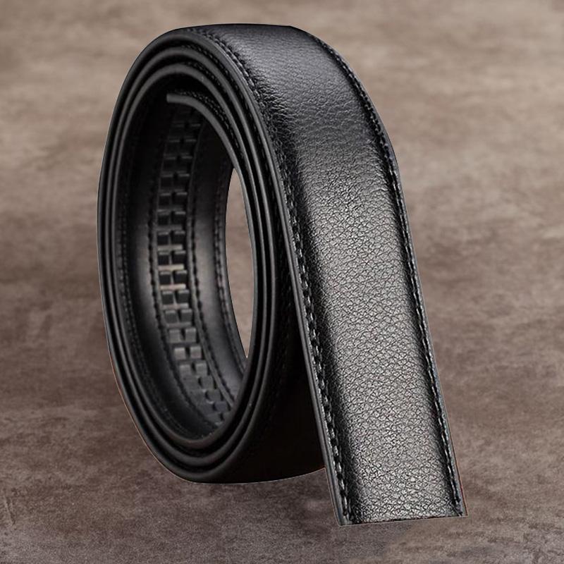 1 pc Men Pu Leather Automatic Ribbon Waist Strap Without Buckle Black Color Belt