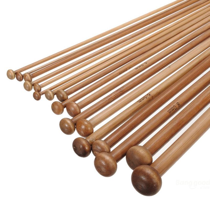 1X 36 Pieces 18 Tailles d/'Aiguilles a Tricoter Carbonisees Crochet en Bambou 2E