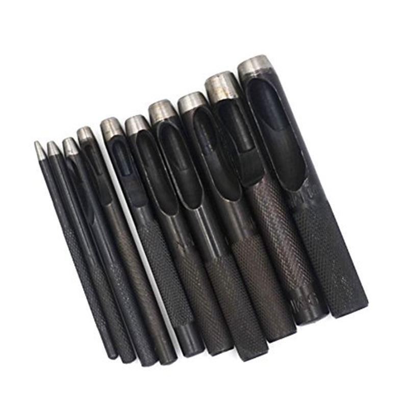 10 stuecke Runde Stahl Leder Handwerk Hohl Locher 1mm bis 10mm fuer Lederguer RU